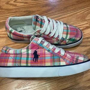 Polo pink plaid cloth sneakers 4 kids /6 women's
